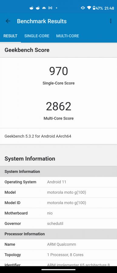 Recenzja Motorola Moto G100 - Wyniki benchmarków - fot. Tabletowo.pl