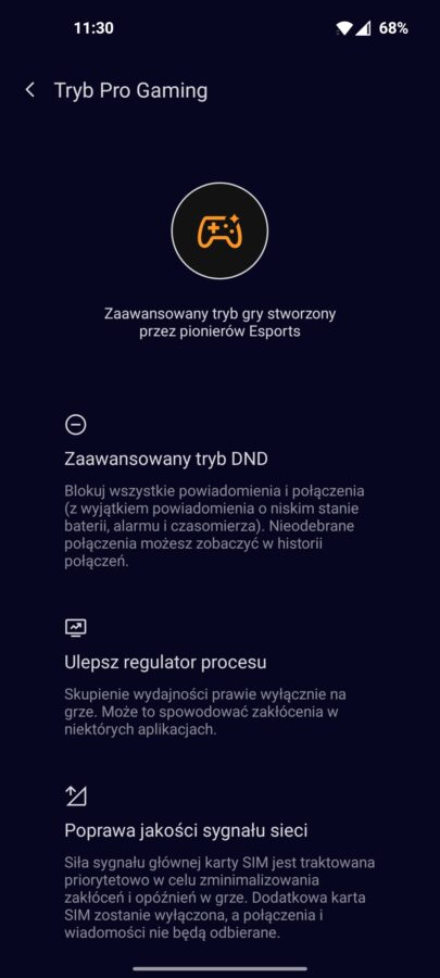 OnePlus 9 5G - Tryb Pro Gaming- fot. Tabletowo.pl