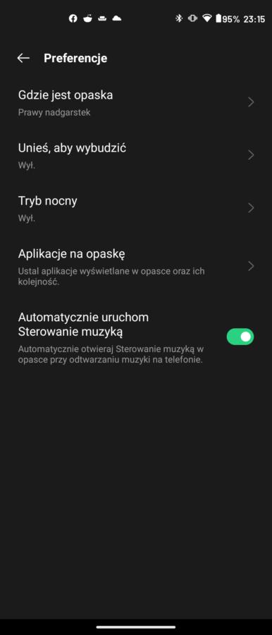 Recenzja Oppo Band - dodatkowe opcje - fot. Tabletowo.pl