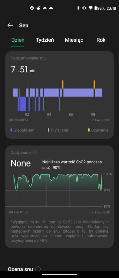 Recenzja Oppo Band - Pomiar SpO2 - fot. Tabletowo.pl