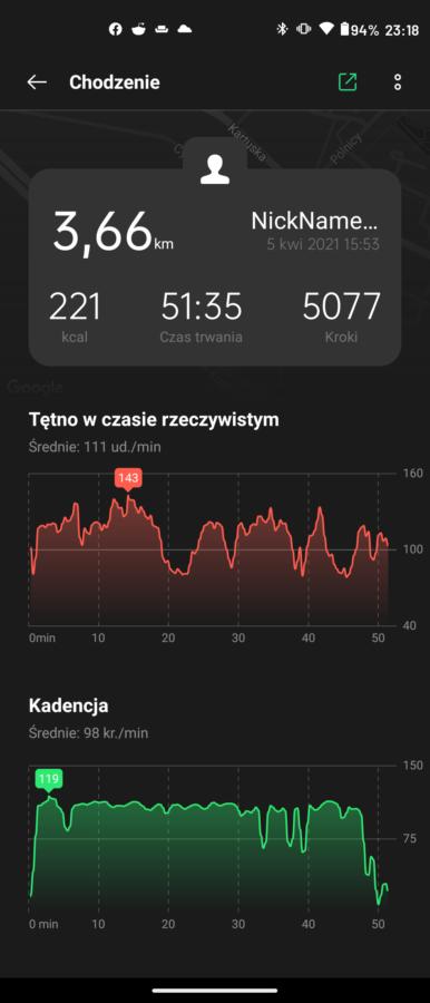 Recenzja Oppo Band - Zapis treningu HeyTap Health - fot. Tabletowo.pl