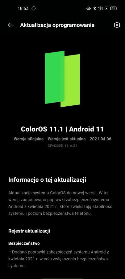 Recenzja Oppo Reno5 Lite - System ColorOS11 - fot. tabletowo.pl