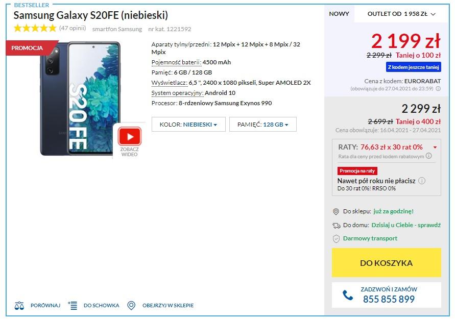smartfon Samsung Galaxy S20 FE RTV Euro AGD promocja za 2199 złotych