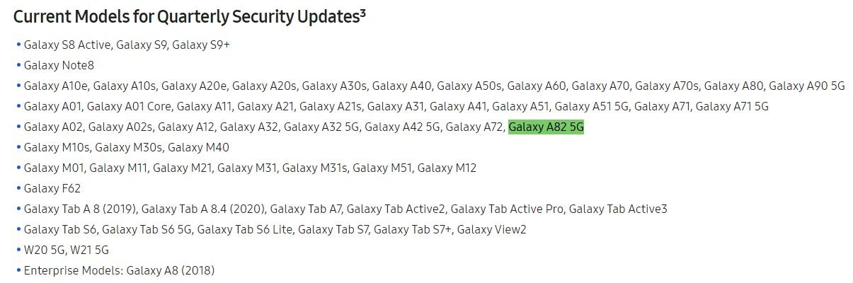 Samsung Galaxy A82 5G Quarterly Security Updates