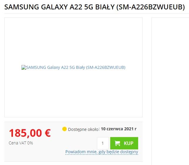 Samsung Galaxy A22 5G cena w Europie nieoficjalna