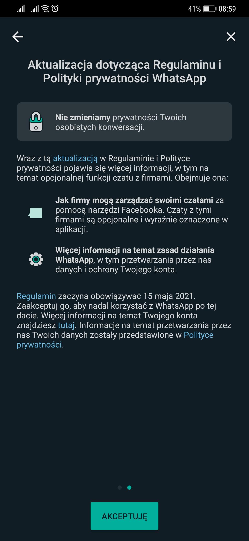WhatsApp zmiany od 15 maja 2021 roku