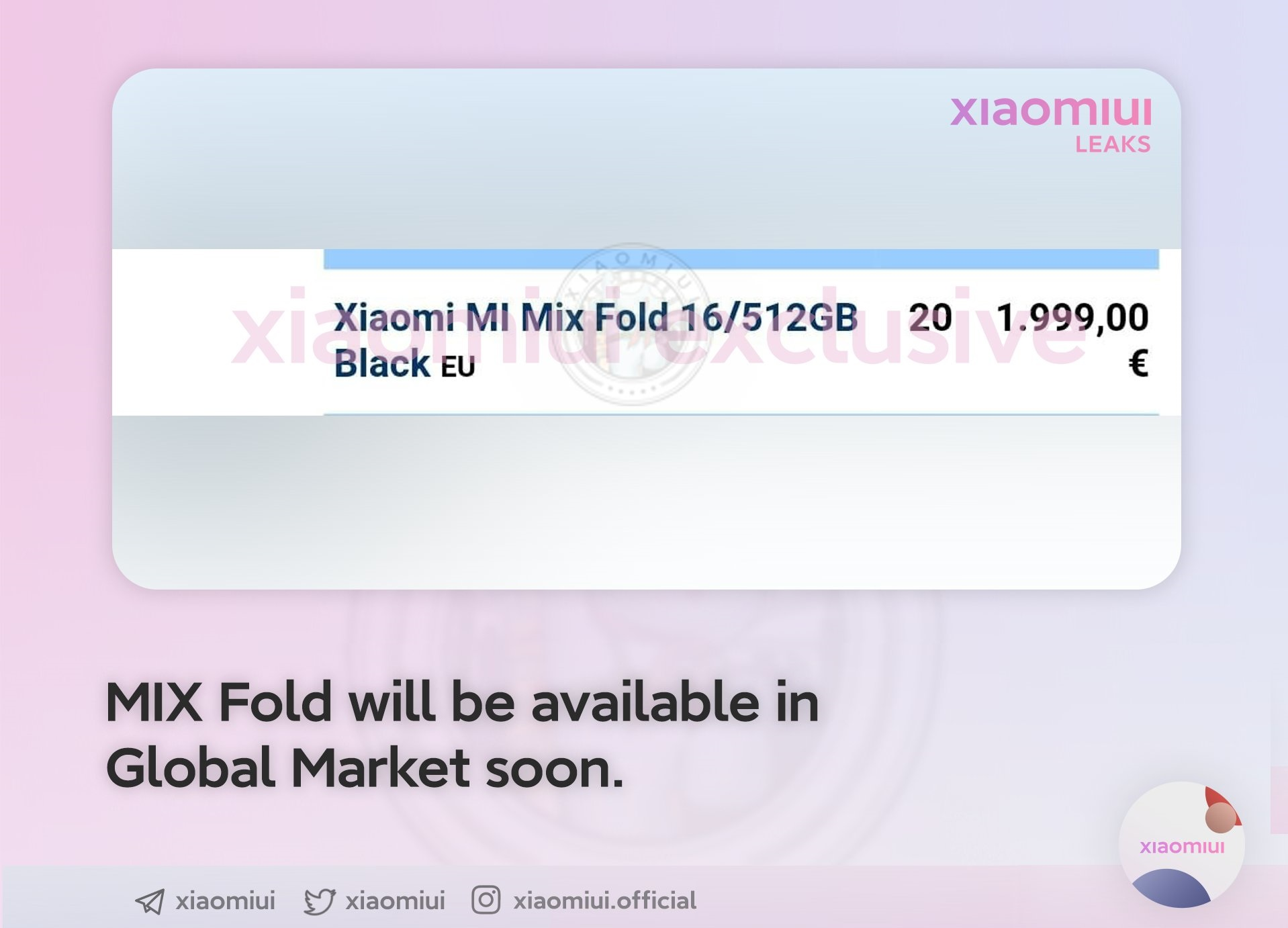 Xiaomi Mi MIX Fold cena w Europie