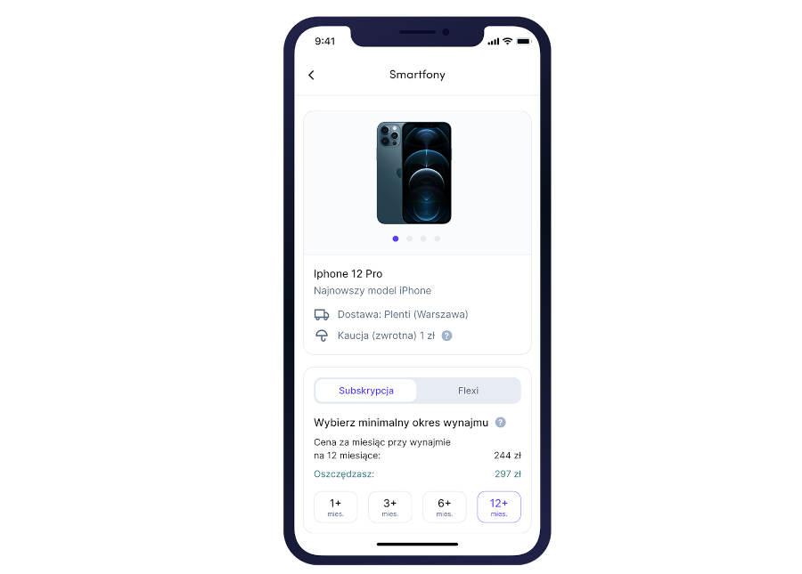 aplikacja Plenti wypożyczenie smartfona iPhone 12 Pro subskrypcja