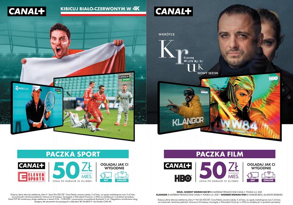 baner canal+ przedstawiający paczki sport i film