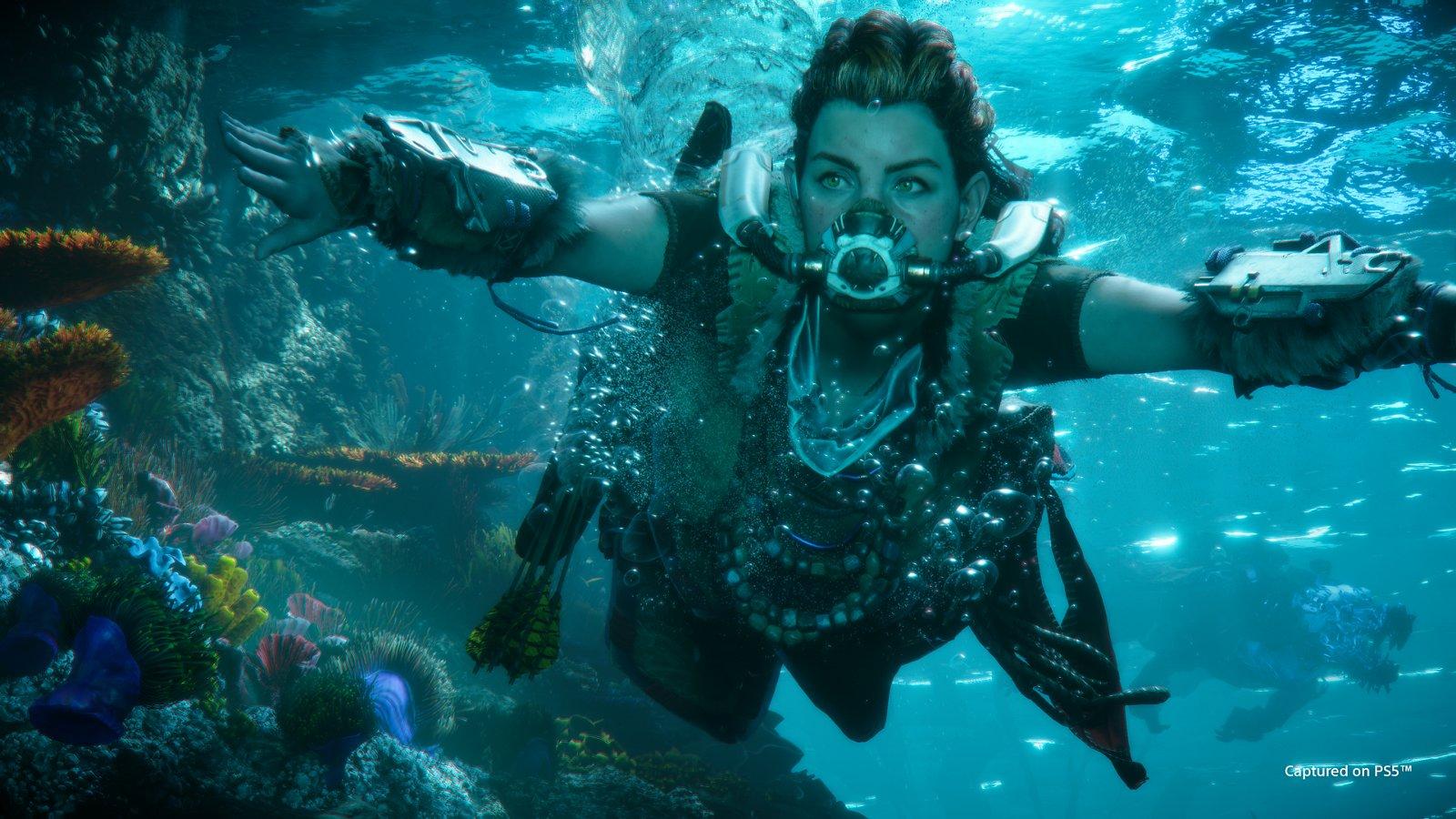 Podwodne sekcje w Horizon: Forbidden West wyglądają obłędnie! (źródło: PlayStation)