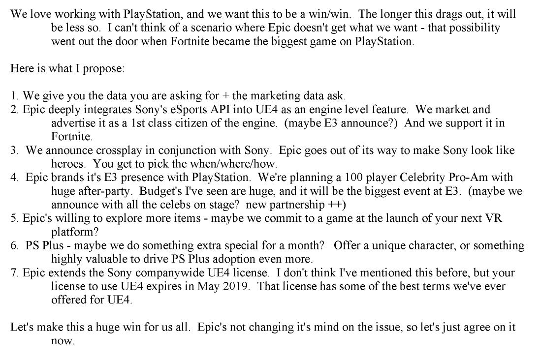 Przedłużenie licencji na Unreal Engine 4 było kolejnym benefitem, jaki Epic obiecywał PlayStation przy zgodzie na cross-play w Fortnite (źródło: Tom Warren, The Verge)