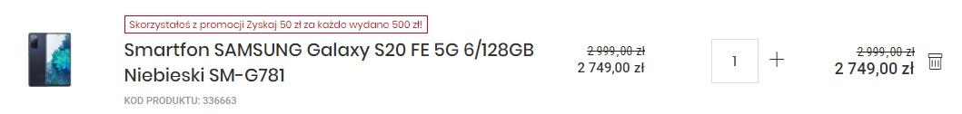 promocja smartfon Samsung Galaxy S20 FE 5G za 2749 złotych w Media Expert