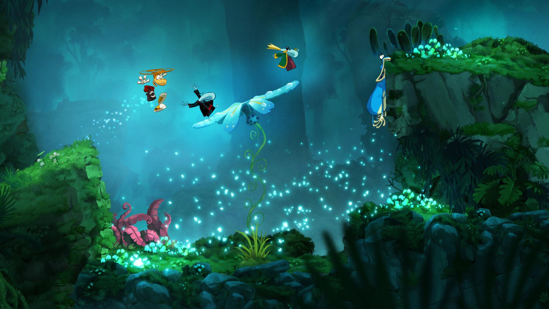 Nawet pojedyncza klatka animacji pokazuje, jak wiele naraz dzieje się na ekranie w Rayman Origins. Globox gryzie ściany, a Rayman helikopterkiem spieszy na pomoc!