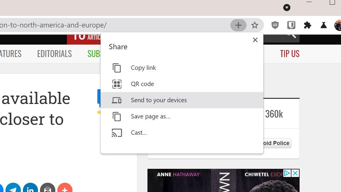 Google Chrome menu udostępniania