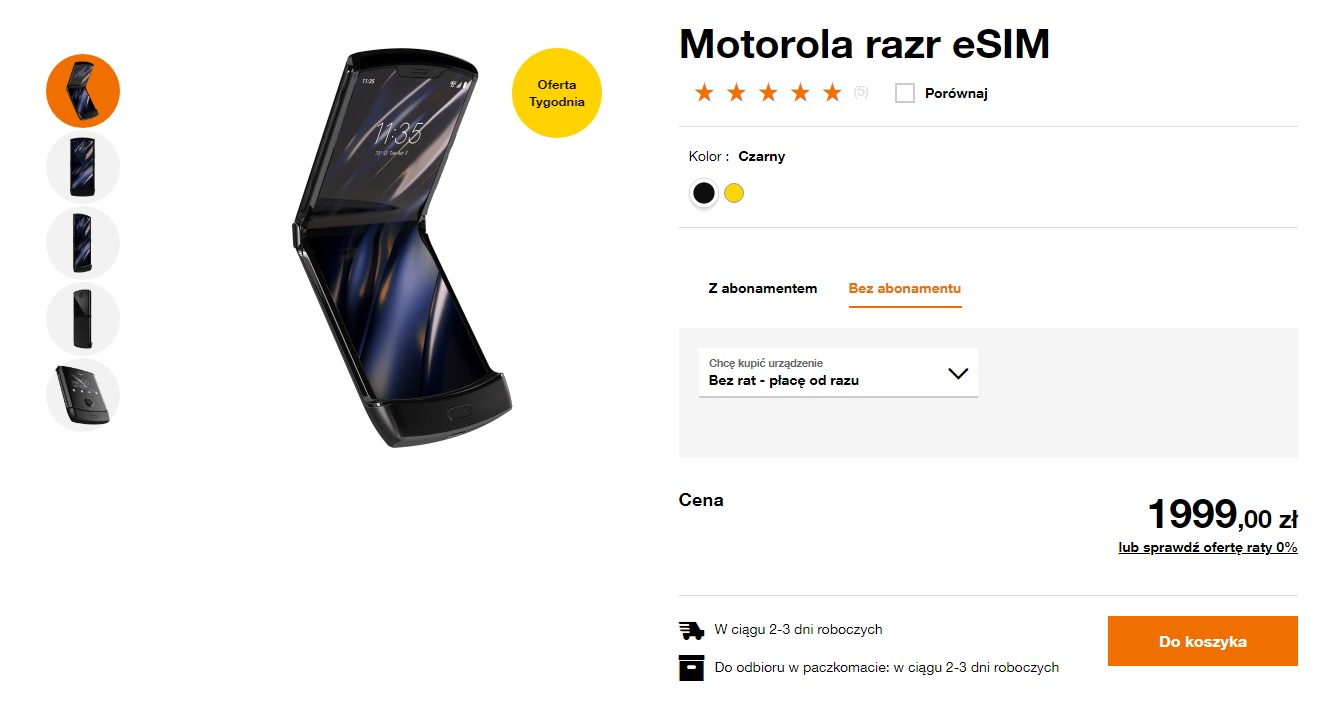 Motorola RAZR eSIM za 1999 złotych w sklepie internetowym Orange