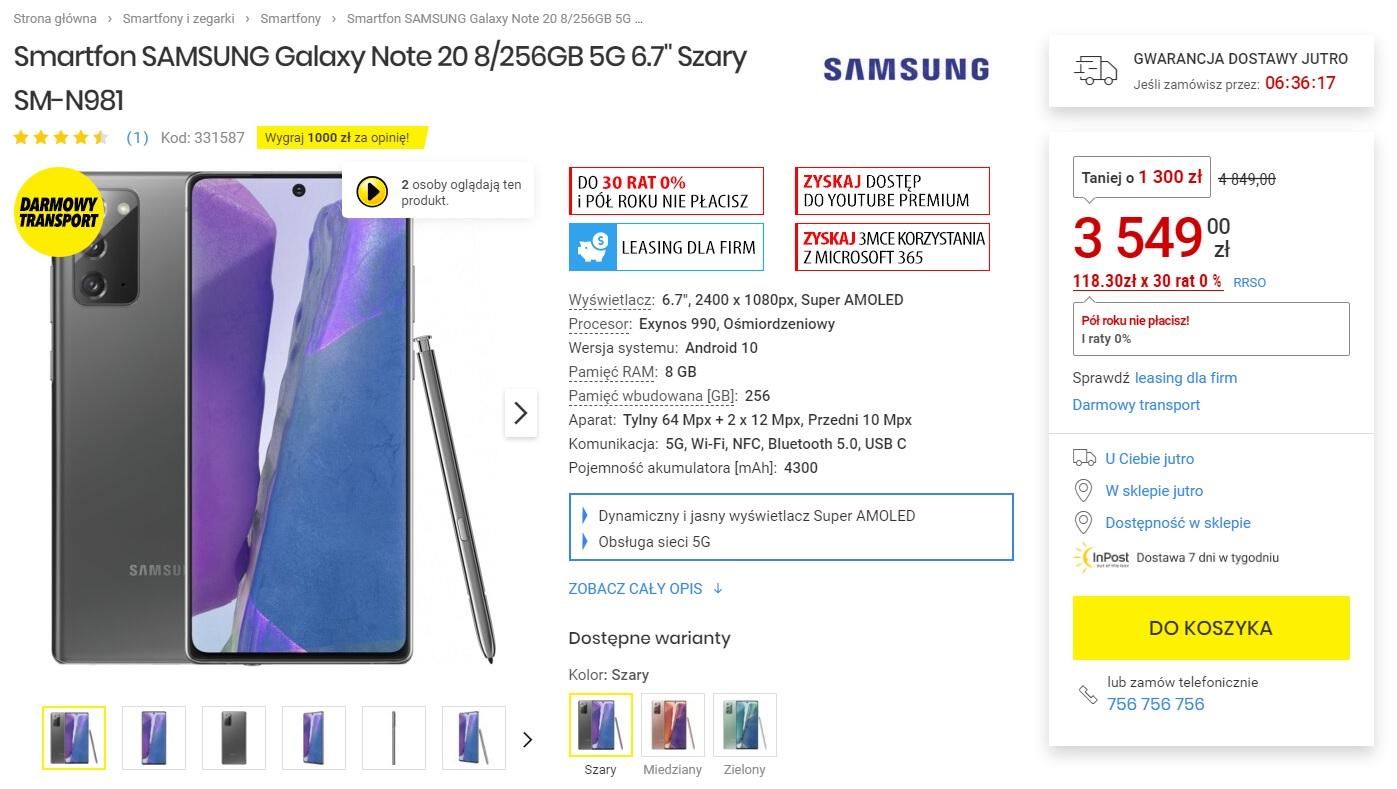 Samsung Galaxy Note 20 5G za 3549 złotych Media Expert