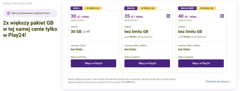 oferta Play na kartę SOLO L XL Next promocja 2x więcej GB po doładowaniu w Play24