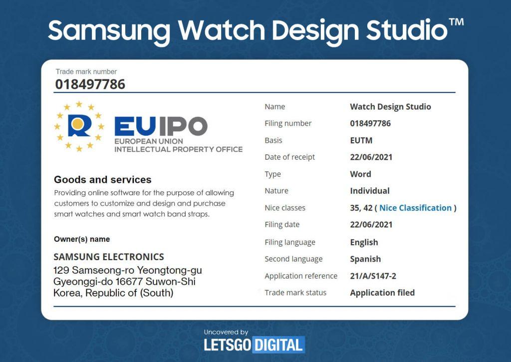 samsung galaxy watch studio znak towarowy trademark