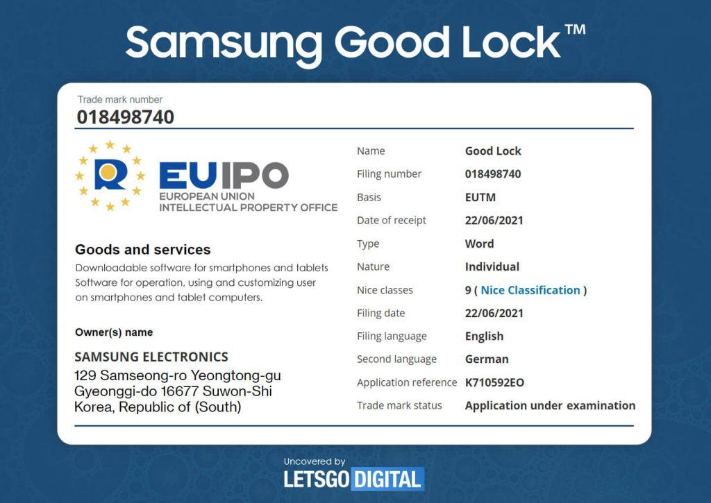 samsung good lock znak towarowy trademark
