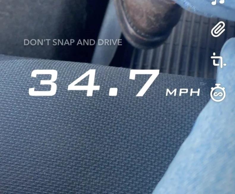 Snapchat filtr prędkości