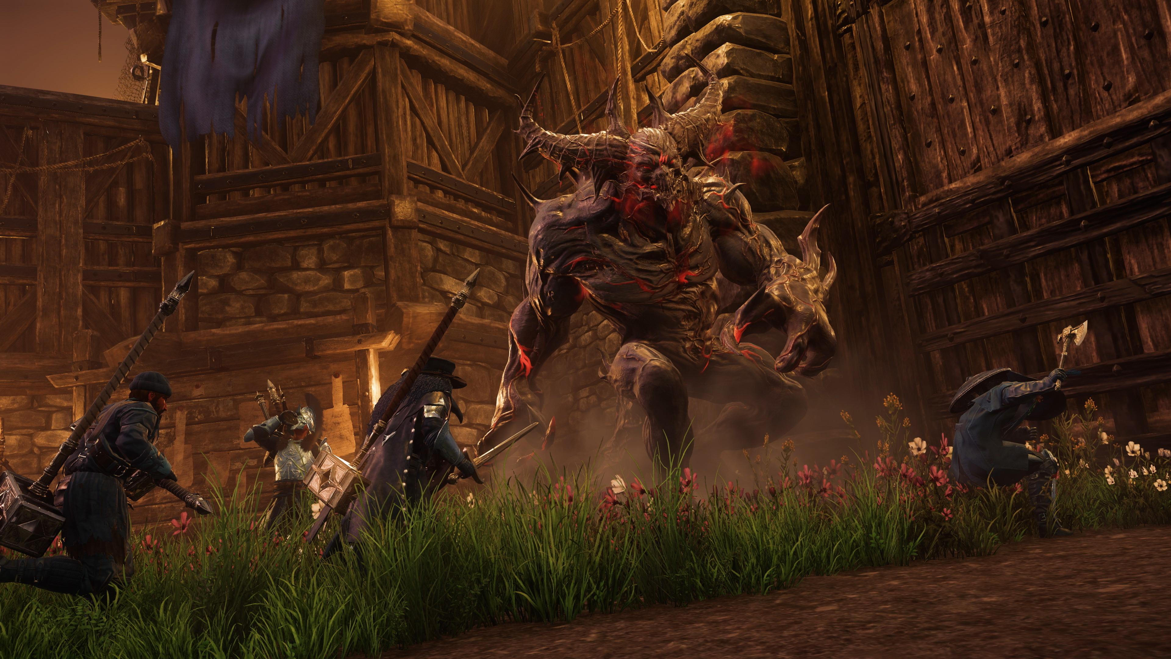 Oblężać będą graczy też wielkie potwory. Gdyby jeszcze gra walka nie była tak skopana... (źródło: Amazon Game Studios)