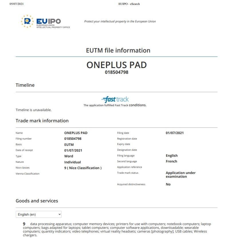 OnePlus Pad tablet