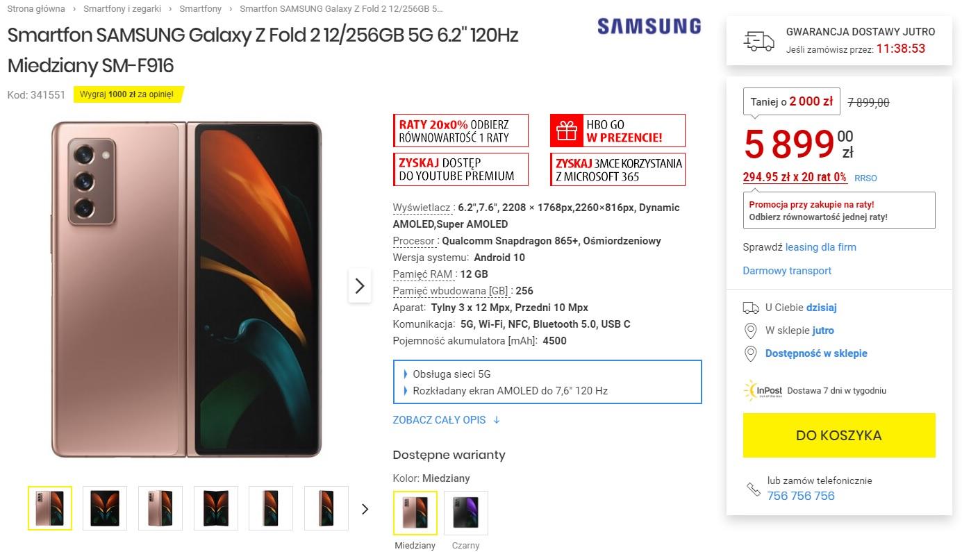 Promocja Samsung Galaxy Z Fold 2 Media Expert taniej o prawie 2300 złotych