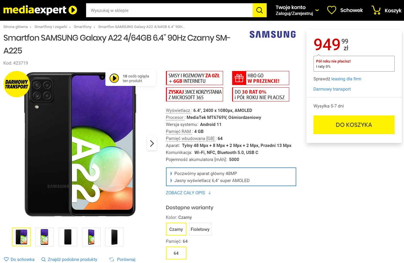 Samsung Galaxy A22 4G w sklepie Media Expert