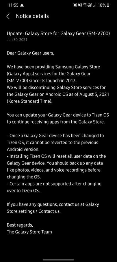 aktualizacja do Tizen dla Galaxy Gear