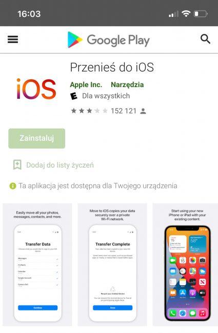 Switch to Android odpowiedzią na Przenieś do iOS
