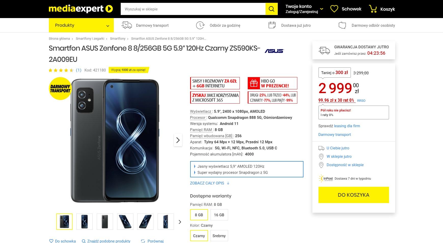 promocja Asus ZenFone 8 8 GB 256 GB za 2999 złotych w sklepie Media Expert