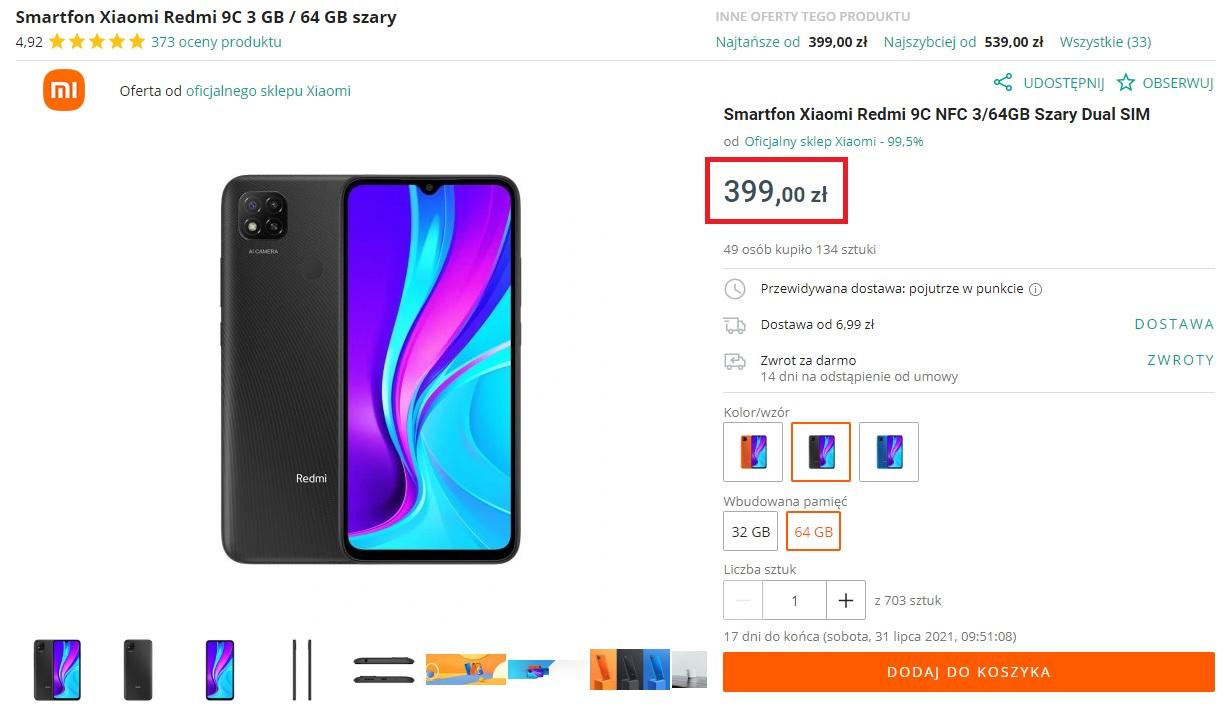 promocja smartfon Xiaomi Redmi 9C NFC za 399 złotych na Allegro