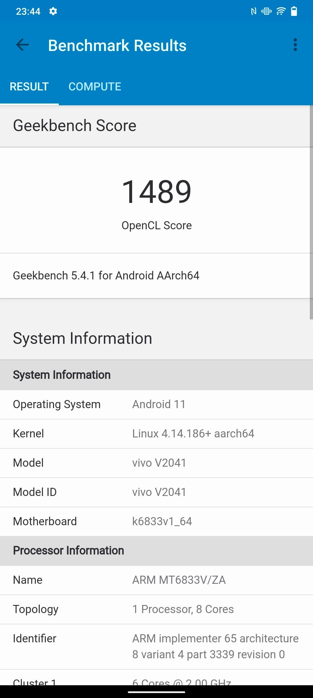 Recenzja Vivo Y72 5G - Benchmark Geekbench - fot. Tabletowo.pl