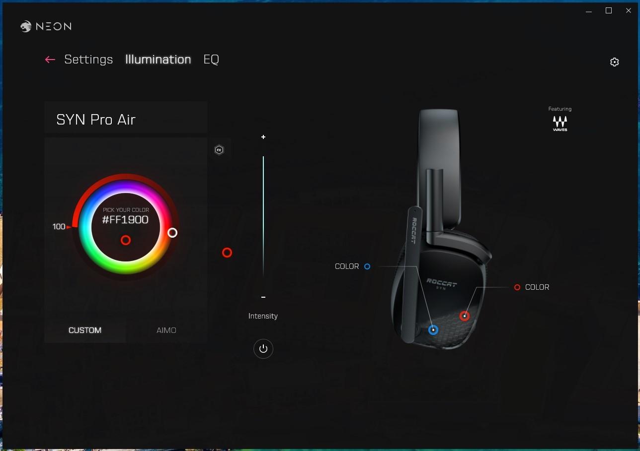 Recenzja Roccat Syn Pro Air - Aplikacja Neon - fot. Tabletowo.pl