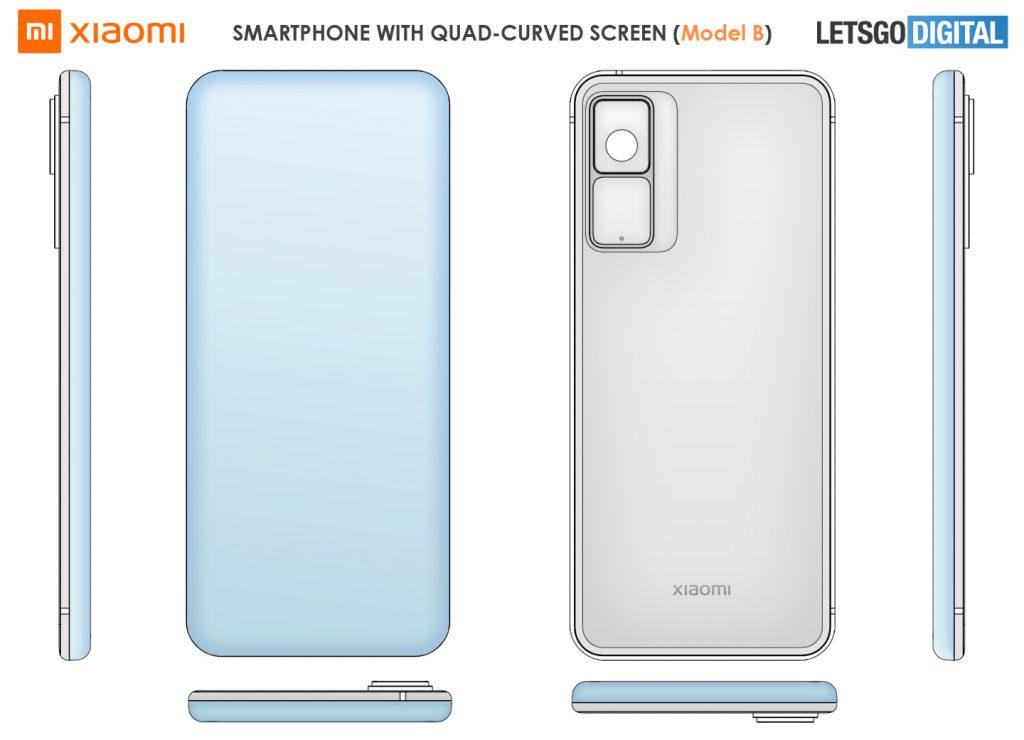 smartfon xiaomi z poczwórnie zakrzywionym wodospadowym ekranem smartphone with quad curved waterfall display patent