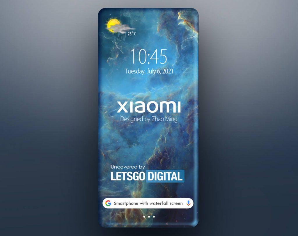 smartfon xiaomi z poczwórnie zakrzywionym wodospadowym ekranem koncept quad curved waterfall display concpet art