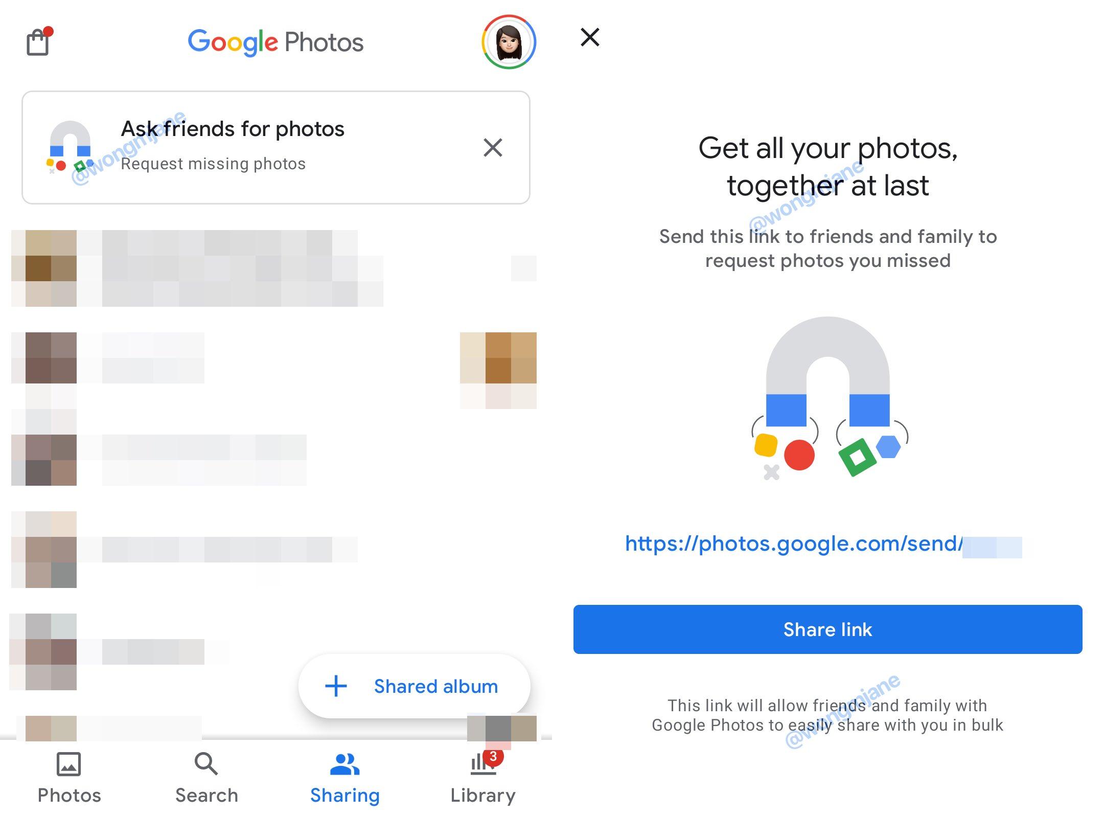 opcja poproś znajomych o zdjęcia w aplikacji zdjęcia google