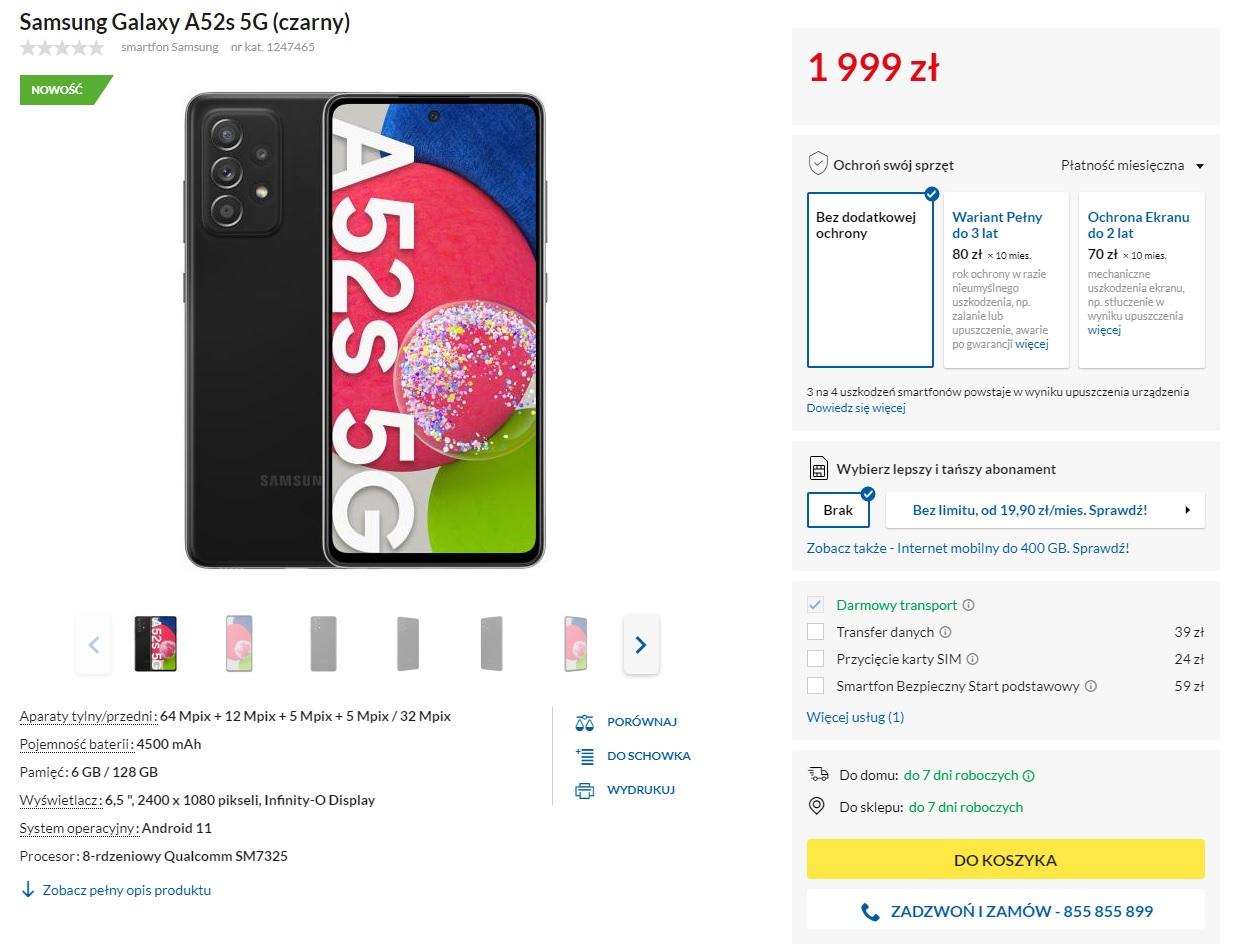 cena Galaxy A52s 5G w Polsce to 1999 złotych