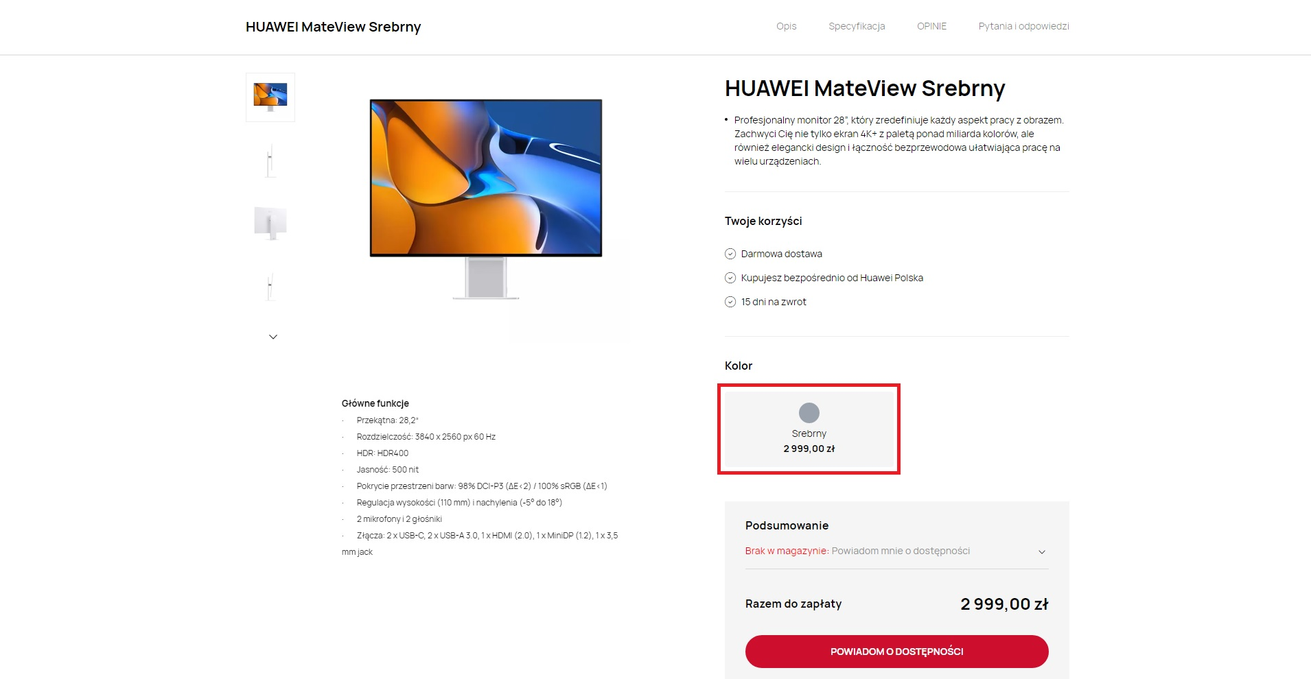 cena Huawei MateView