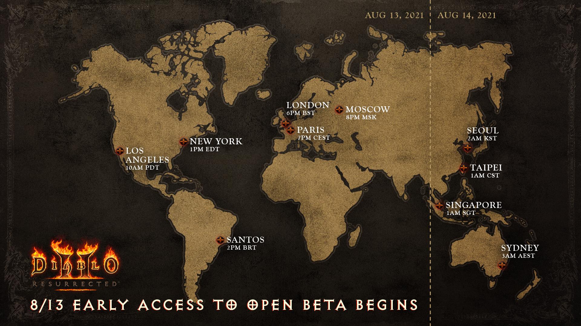 Mapa dostępów do bety Diablo II Resurrected