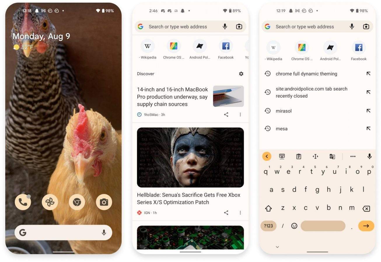 google chrome android 12