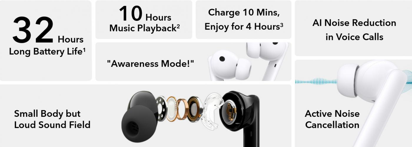 słuchawki bezprzewodowe honor earbuds 2 lite wireless headphones