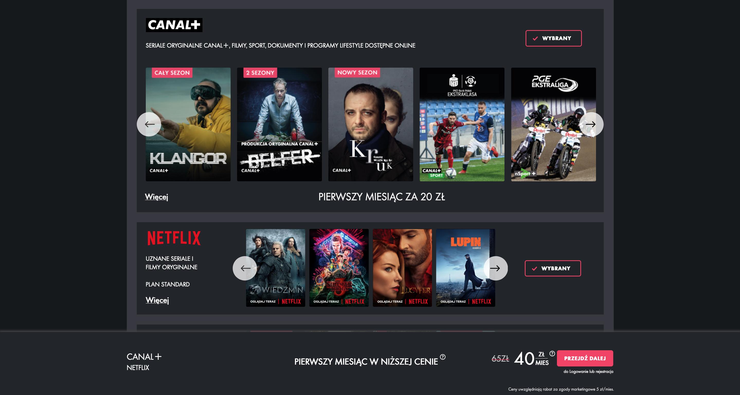 Łączona oferta Canal+ Online i Netflixa - stawki cenowe
