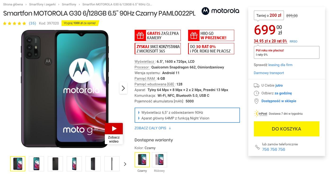 promocja Motorola Moto G30 za 699 złotych w Media Expert