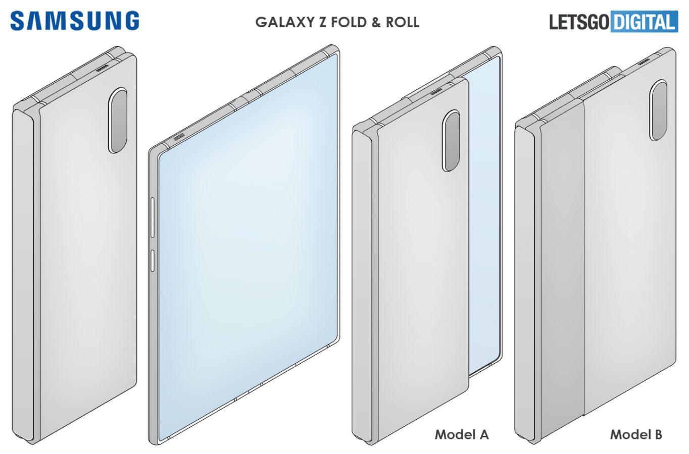 składany zwijany smartfon samsung galaxy z fold & roll foldable rollable smartphone patent