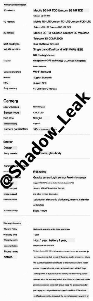 specyfikacja Xiaomi Mi MIX 4 specs