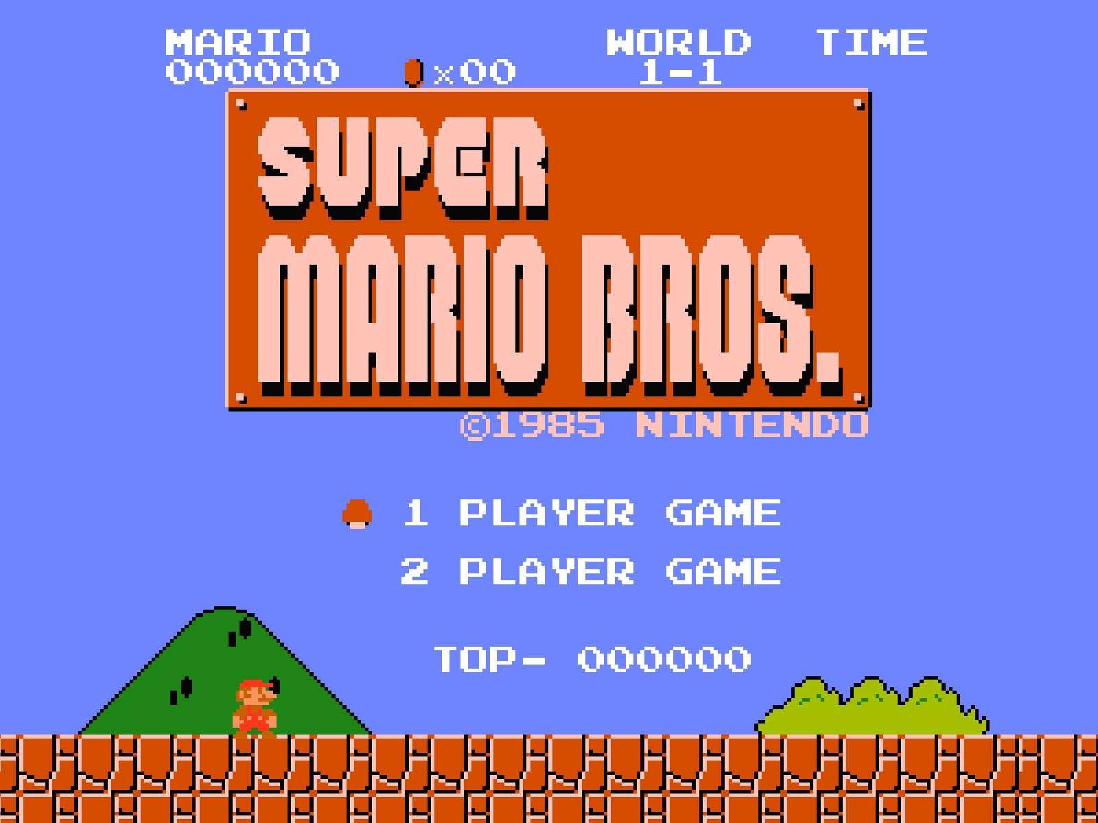 Ekran tytułowy Super Mario Bros