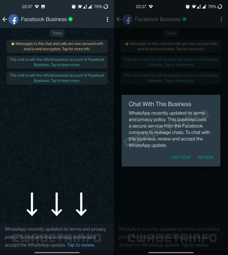 warunki korzystania z usługi whatsapp terms of services