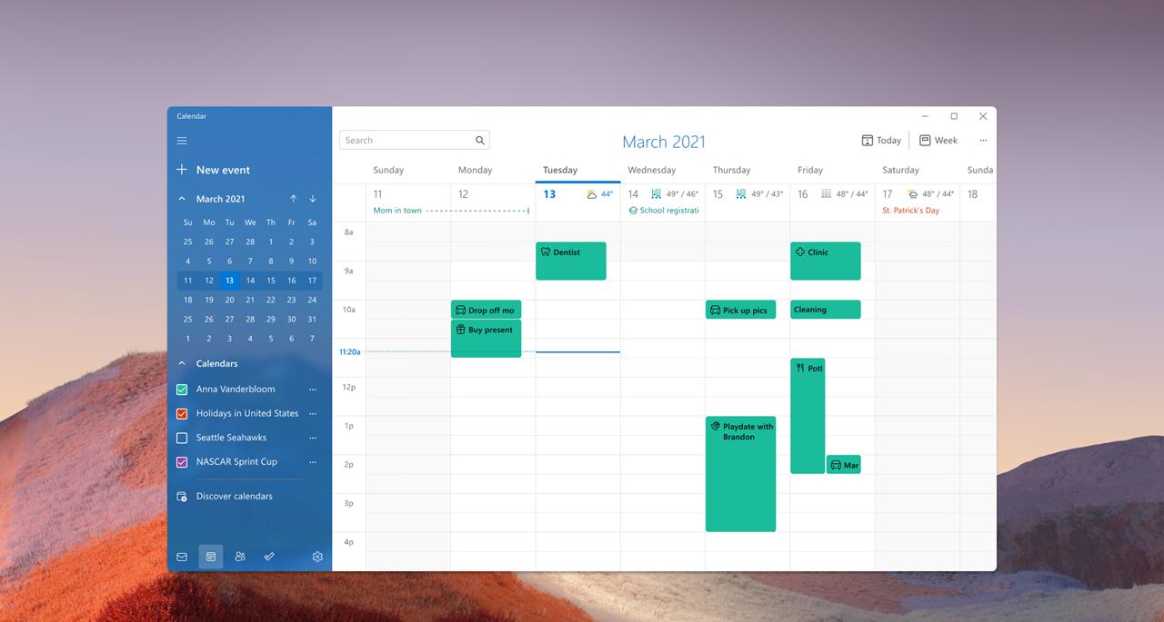 Odświezona aplikacja kalendarza w windows 11
