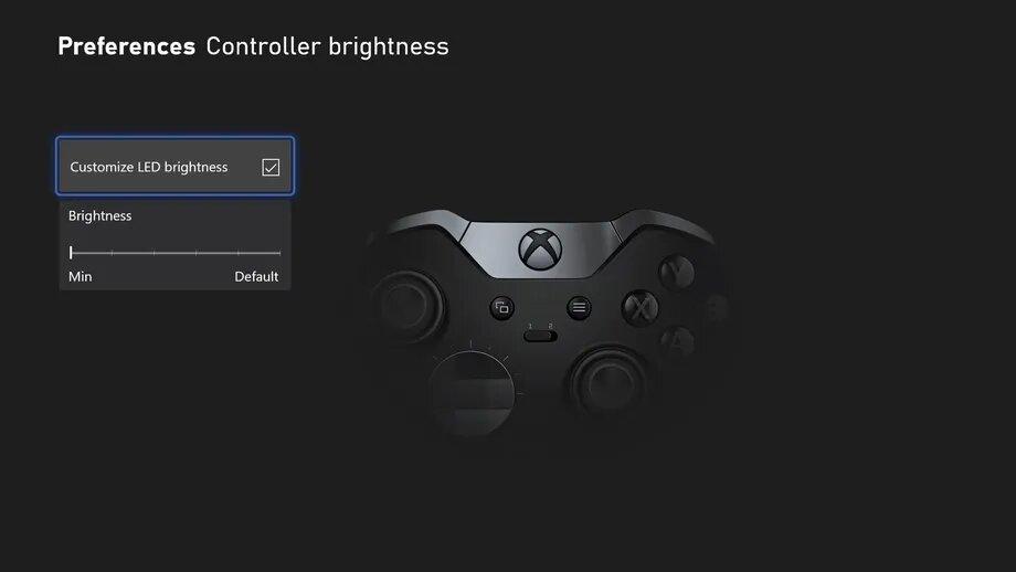 Ustawienia kontrolera w trybie nocnym Xbox (źródło: The Verge)